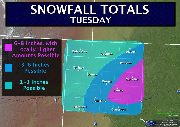 Latest Update – Heavy Snow Expected in TX/OK Panhandle