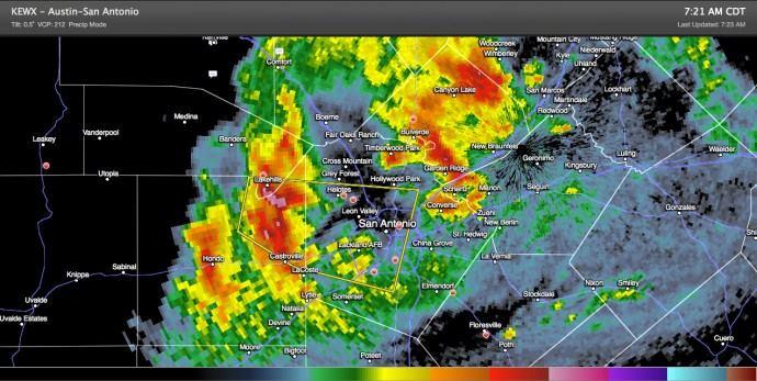 San Antonio Metro Area – Severe Thunderstorm Warning until 8:00am CDT