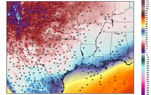 Very Cold Temperatures and Hard Freeze across Texas on Tuesday Morning