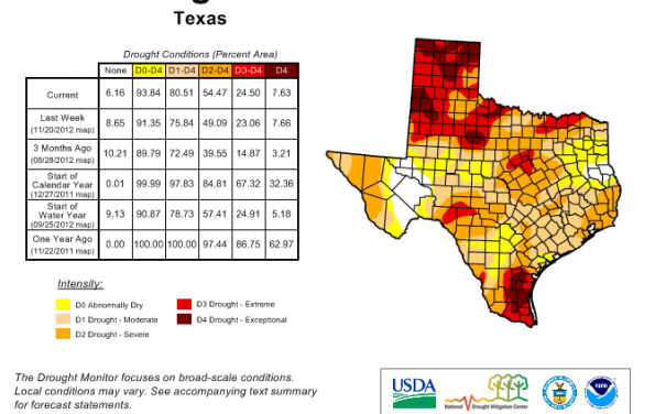 Drought Re-Intensifying Across Texas; Looking into December