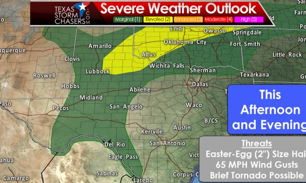 Rain/Storm Chances Later Today through Monday; Some Easter Egg Size Hail?