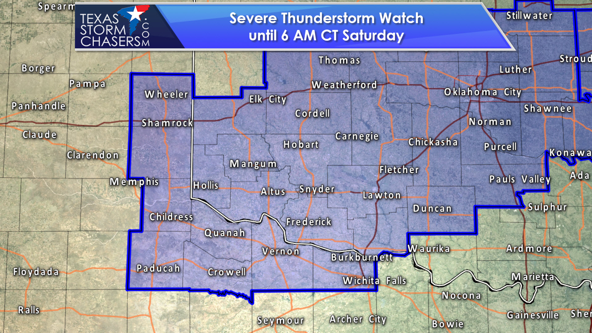 Map Of Northwest Texas.Severe Thunderstorm Watch Issued For Northwest Texas Until