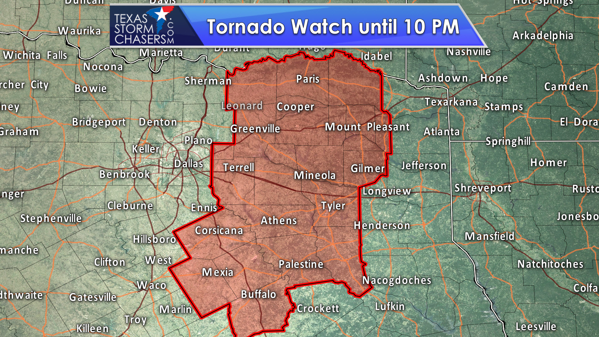 tornado watch till 10pm for eastern north texas