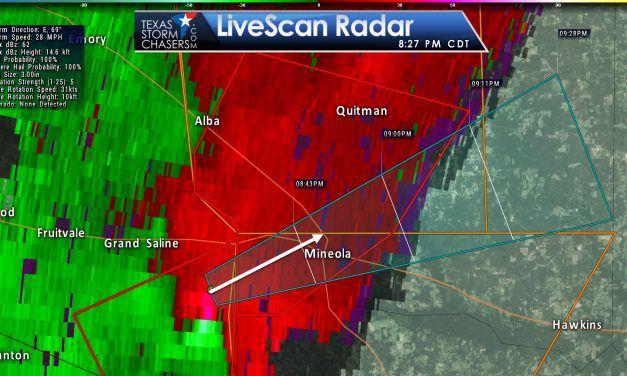 Tornado Warning for Mineola…