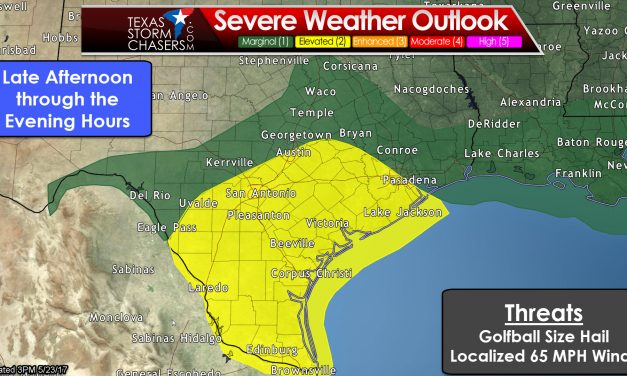 Scattered Storms with Hail/Wind possible in Southeast & South TX through this evening