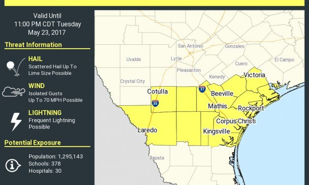 Severe Thunderstorm Watch for South Texas/Middle Coast till 11PM