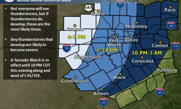 6:00pm Severe Weather Update – Threat for Severe Weather Increasing for North Central TX