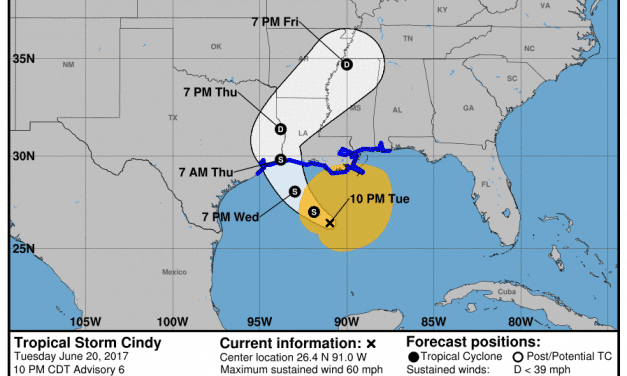 10PM Update on Tropical Storm Cindy & Potential Texas Impacts
