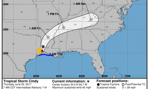 7:00am Update on TS Cindy
