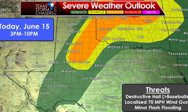 Upgraded 'Enhanced' Level 3 Severe Risk in E. Panhandle & West Texas Later Today