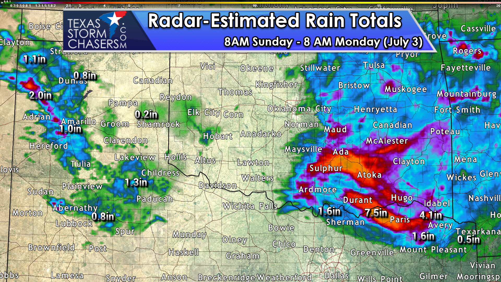 Peak at the Rain Totals over the last 24 Hours
