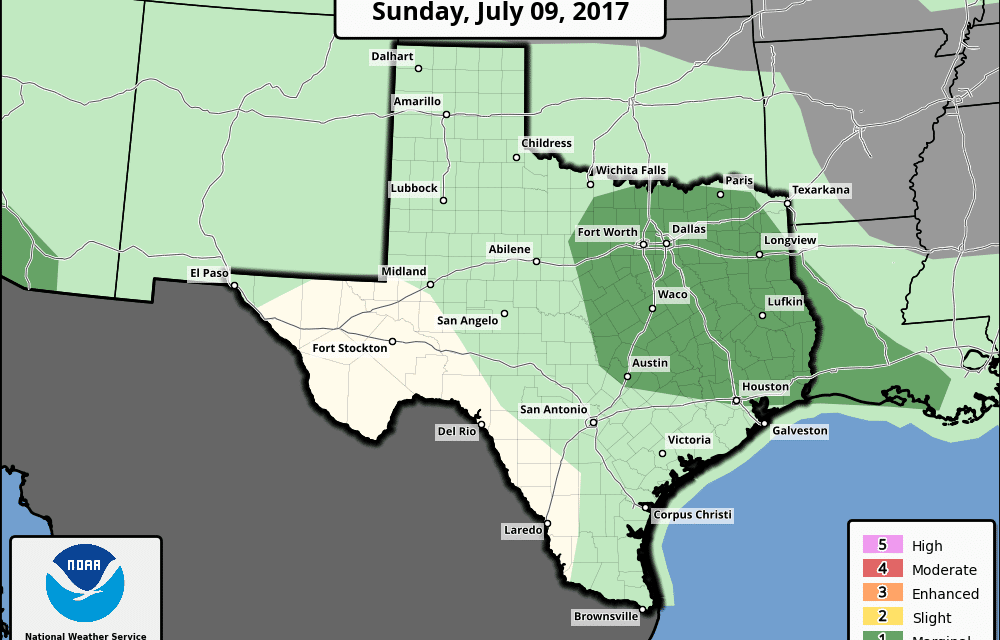 Sunday July 9th Outlook – Scattered Strong Storms Possible for North Central, Northeast, East, Southeast TX