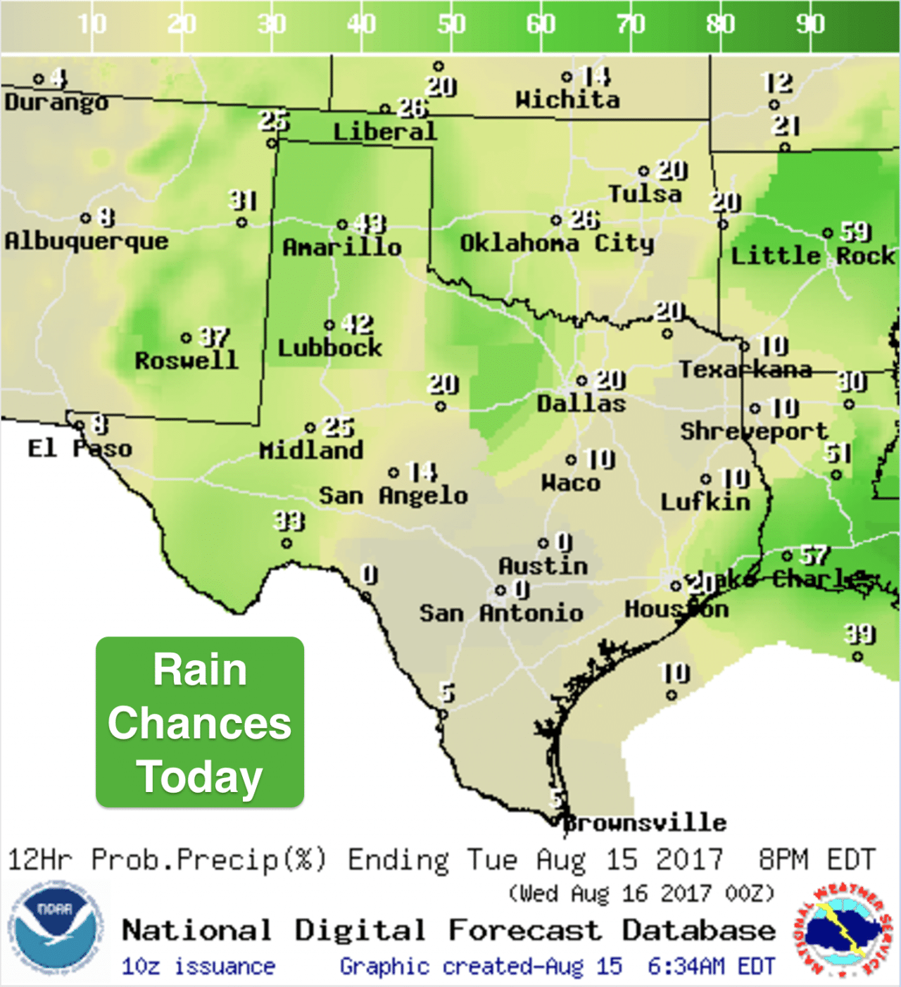 Tuesday August 15th Outlook - Continued Storm Chances for the Panhandle