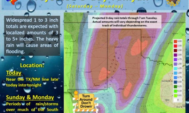 Increasing Rain Chances with Flooding Threats for Western Texas This Weekend – Cold Front Arrives Next Week