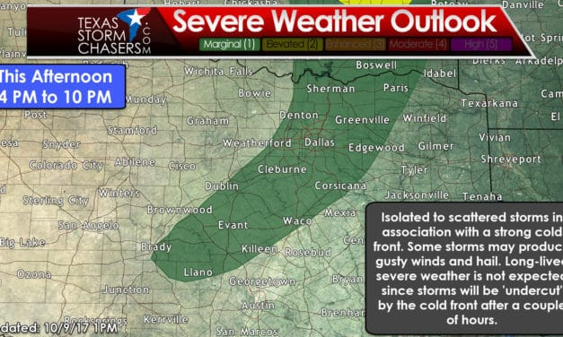First Big Fall Cold Front Barrelling South into Texas; Marginal Storm Risk Later Today
