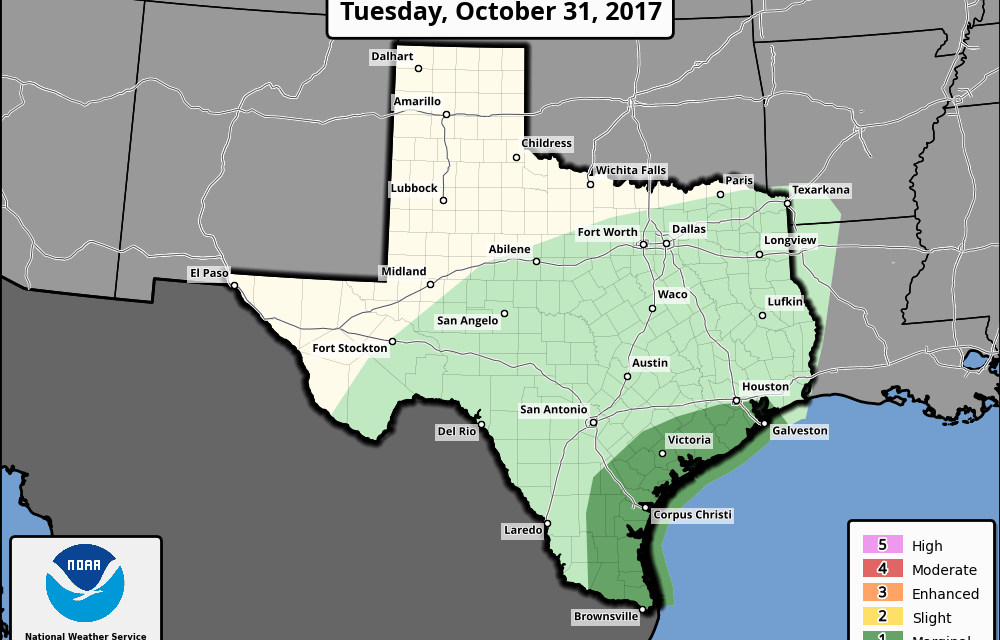 Marginal Risk (Level 1) for Severe Storms along the Coastal Plains this Afternoon & Overnight – Warming Up For The Remainder of the Week