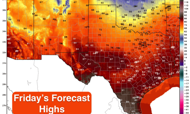 Cooler Today Across Northern Texas Today – Temps Rebound for the Weekend Ahead