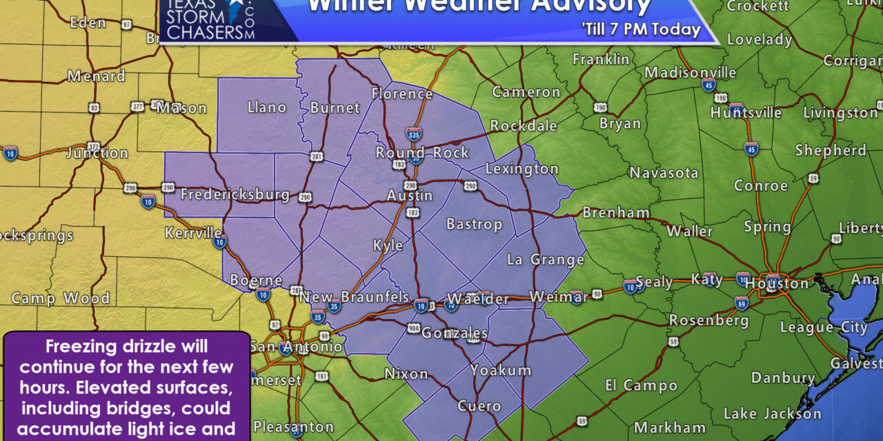 Freezing Drizzle Causing Travel Problems in eastern South-Central Texas
