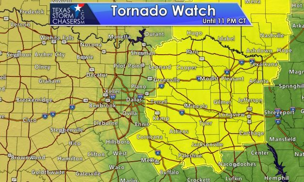 Tornado Watch Issued until 11 PM for Northeast and East Texas