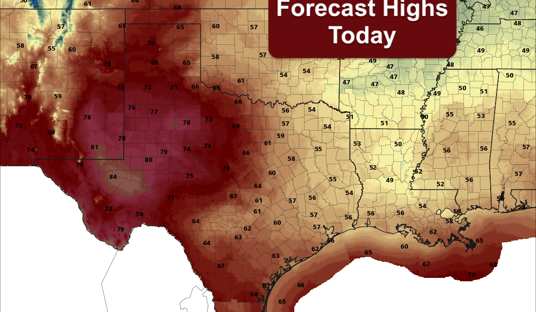 Rain Chances For SE TX Today – Continued Dry Elsewhere As Drought Conditions Spread
