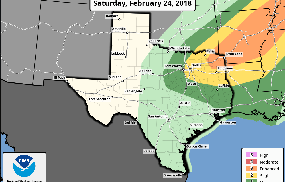 Slight to Enhanced Risk of Severe Weather on Saturday