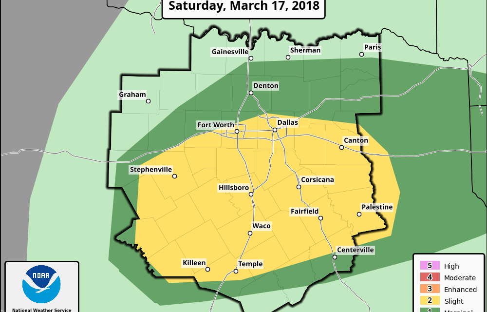 Slight Risk (Level 2) for Severe Weather For Central and North Central TX This Afternoon