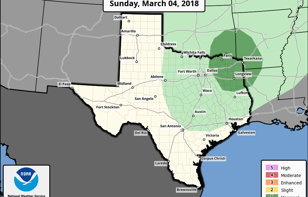 Marginal Risk (Level 1) for Northeast TX – Critical Fire Weather Conditions for Panhandle & Western Texas