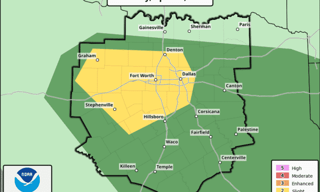 North Central Texas Upgraded to Slight Risk (Level 2) This Afternoon-Evening