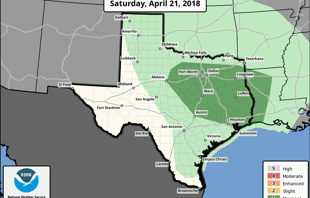Marginal Risk (Level 1) Of Strong to Severe Storms Today Followed By Yet Another Cold Front