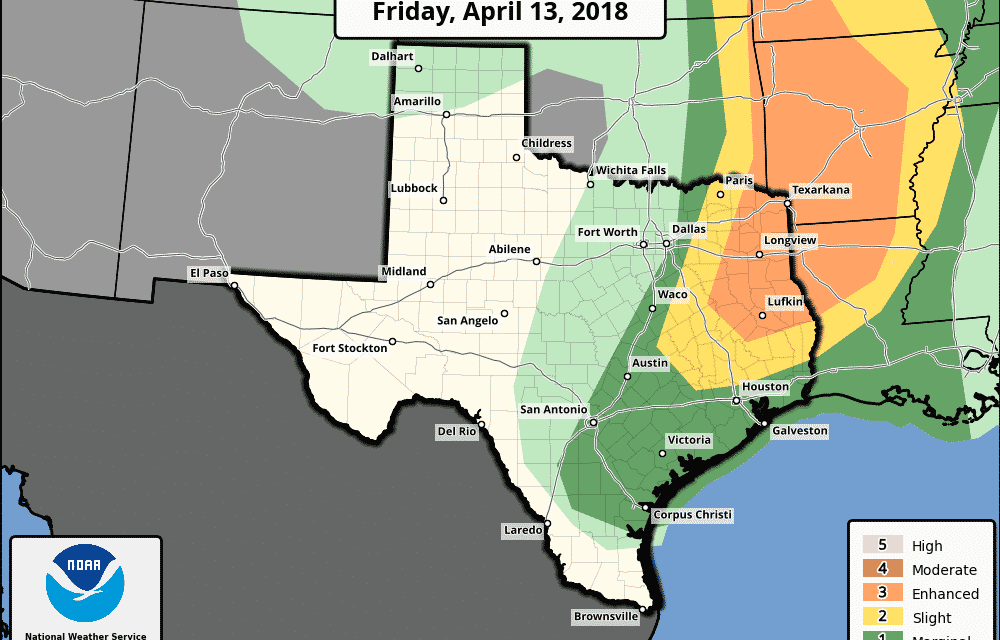 Enhanced Risk (Level 3) of Severe Storms and Extreme Fire Danger on Friday