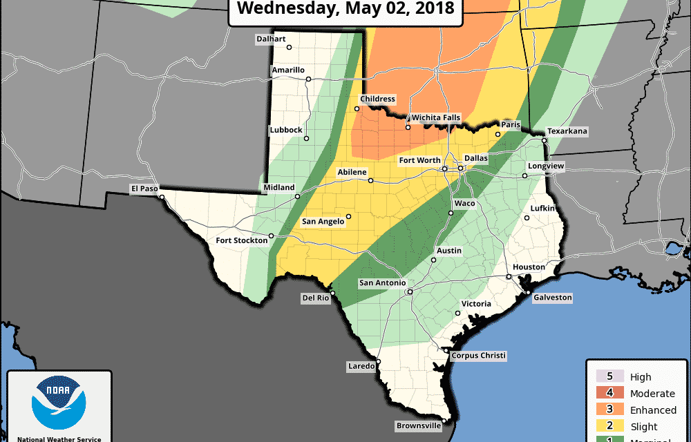 Severe Storms Possible in Texas Today, Wednesday, & Thursday