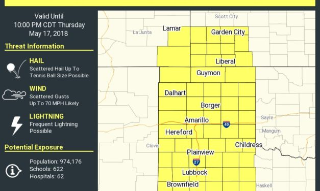 Severe Thunderstorm Watch until 10 PM for the Panhandle & West Texas