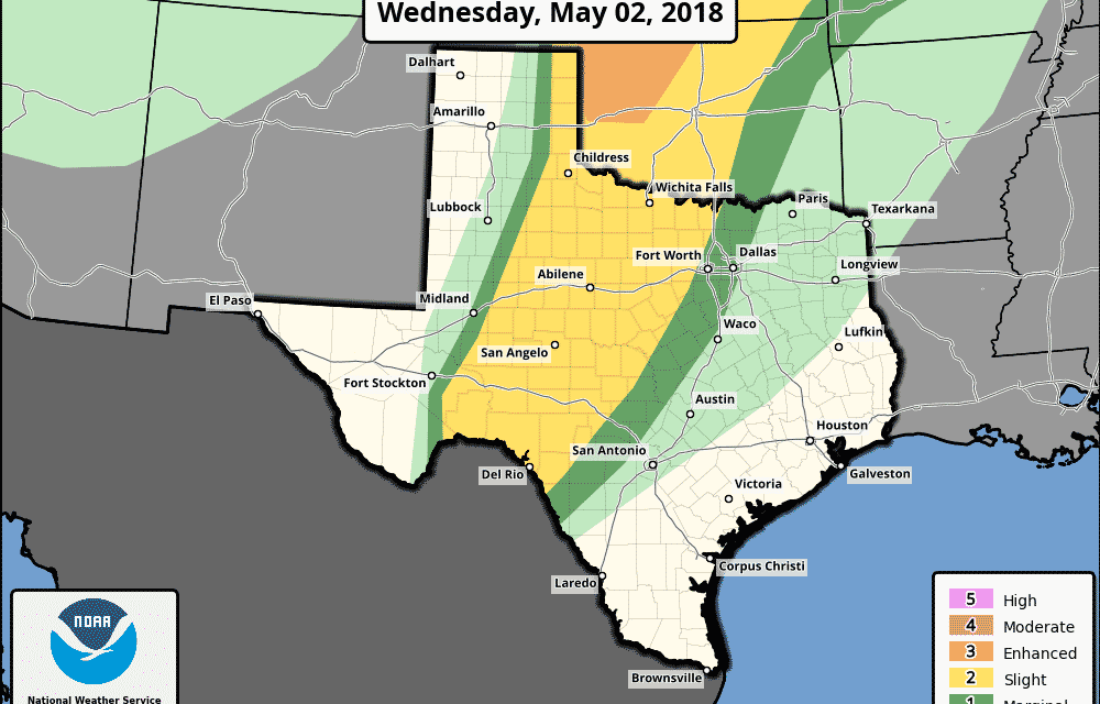 Slight Risk (Level 2) for Strong to Severe Storms Late This Evening and Overnight
