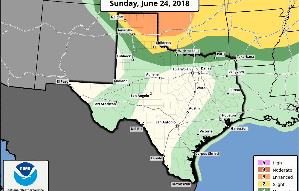 Enhanced & Slight Risk for Texas Panhandle This Afternoon & Evening