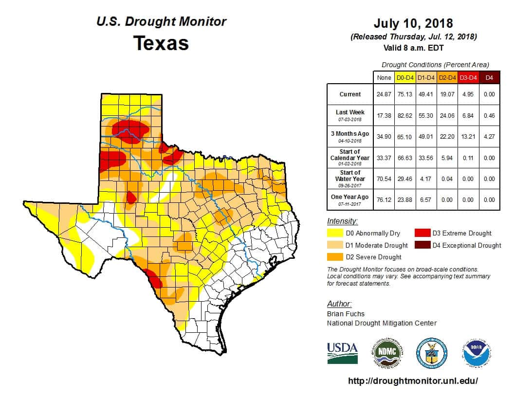 Texas Weekly Drought Update for July 12, 2018 - Texas Storm ... on texas energy map, texas disease map, texas stream map, texas climate map, texas drainage map, texas coastal management map, the woodlands texas faultlines map, texas light map, texas cold front map, texas tsunami map, texas migration map, texas ozone map, texas fall color map, texas wildfires, texas highway 16 map, texas blizzard map, texas arizona new mexico map, plant native texas regions map, texas record cold map, texas air mass map,