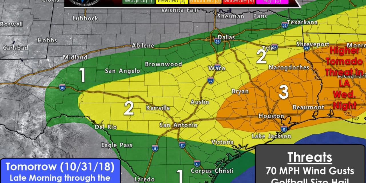 Level 3 Severe Weather Threat in Southeast Texas for Halloween