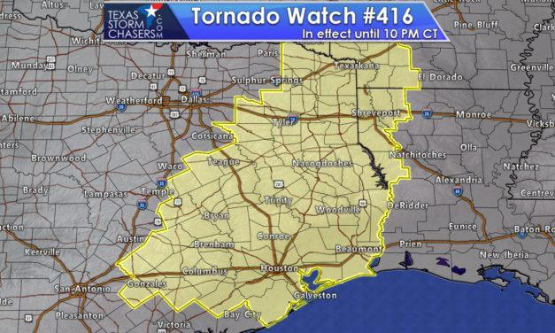 Tornado Watch Issued for the Brazos Valley, Southeast Texas, East Texas, & Northeast Texas