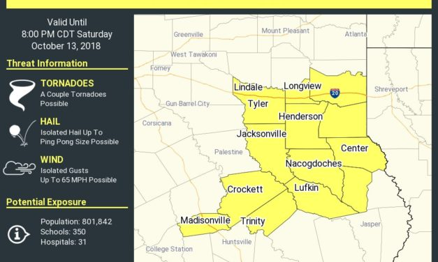 New Tornado Watch Issued for East Texas until 8 PM