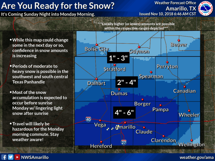 Winter Storm WATCHES For The Texas Panhandle Late Sunday into Monday