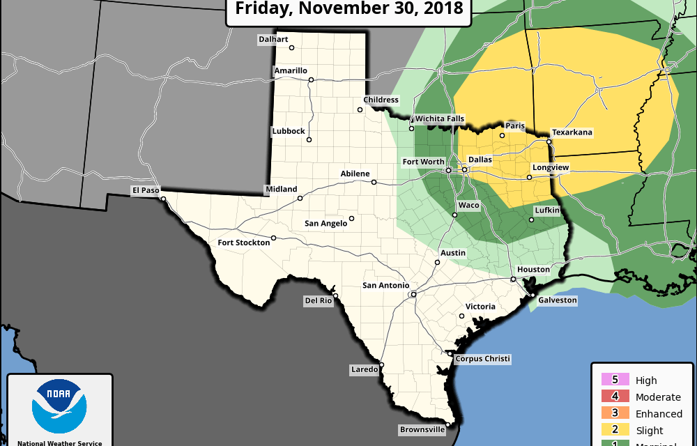 Slight Risk (Level 2) For Severe Storms Friday Evening and Overnight