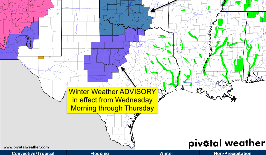 Winter Weather Advisories – Early Wednesday through Thursday for parts of North Texas and West Central Texas