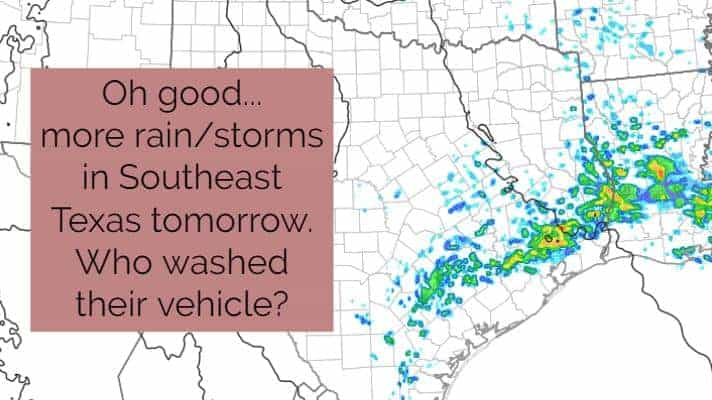 High rain chances return on Tuesday to Southeast Texas; Isolated Hailers Possible