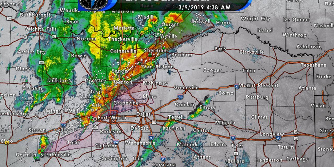 Severe storms with hail moving east into the D/FW Metroplex