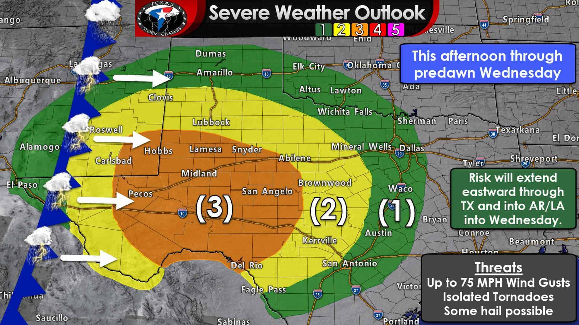Level 3 Risk of Severe Storms with Damaging Winds and Isolated Tornadoes Overnight