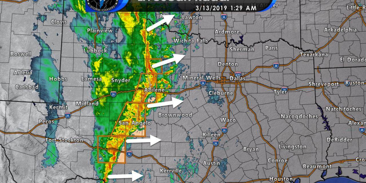 1:30 AM Severe Weather Update; Damaging winds moving across the Big Country & Concho Valley
