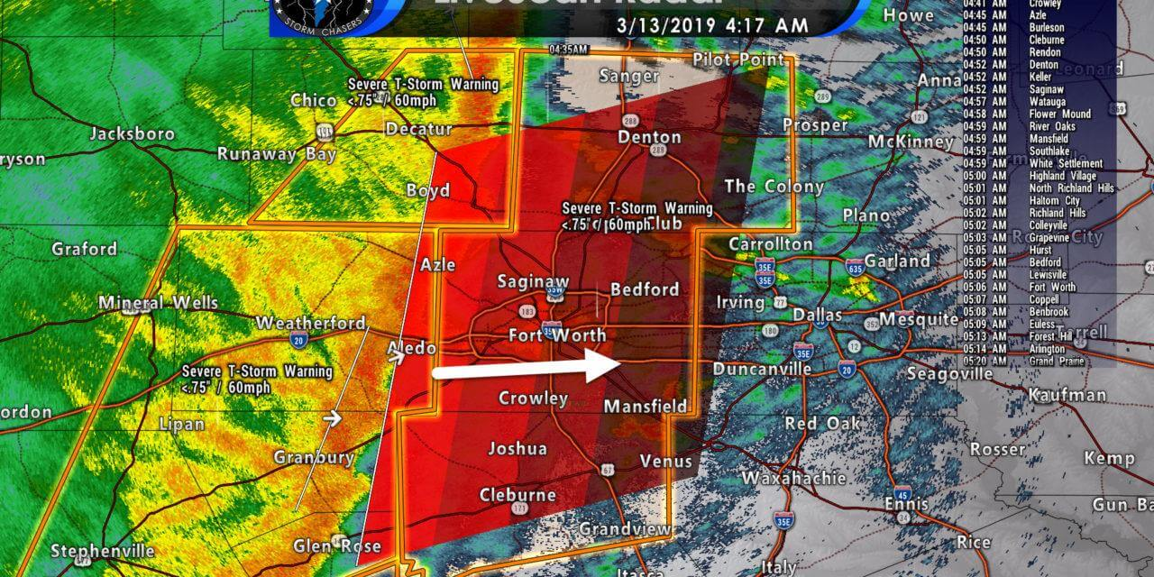 Severe storms with damaging winds moving into Denton, Tarrant, Johnson counties