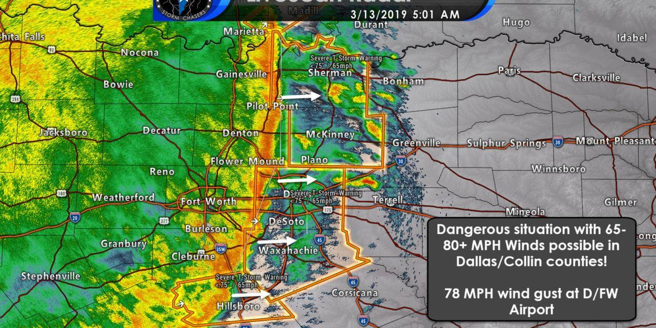 Destructive winds moving through Dallas/Collin Counties!