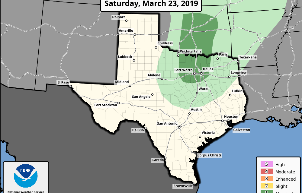 Saturday, March 23, 2019 Severe Weather Outlook