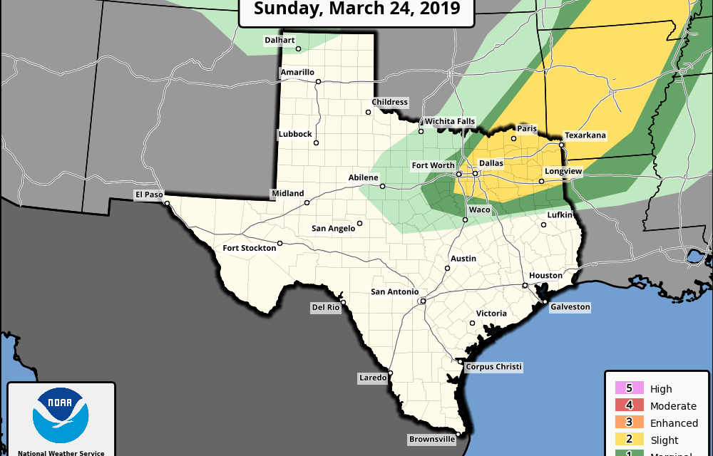 Sunday March 24, 2019 Severe Weather Outlook