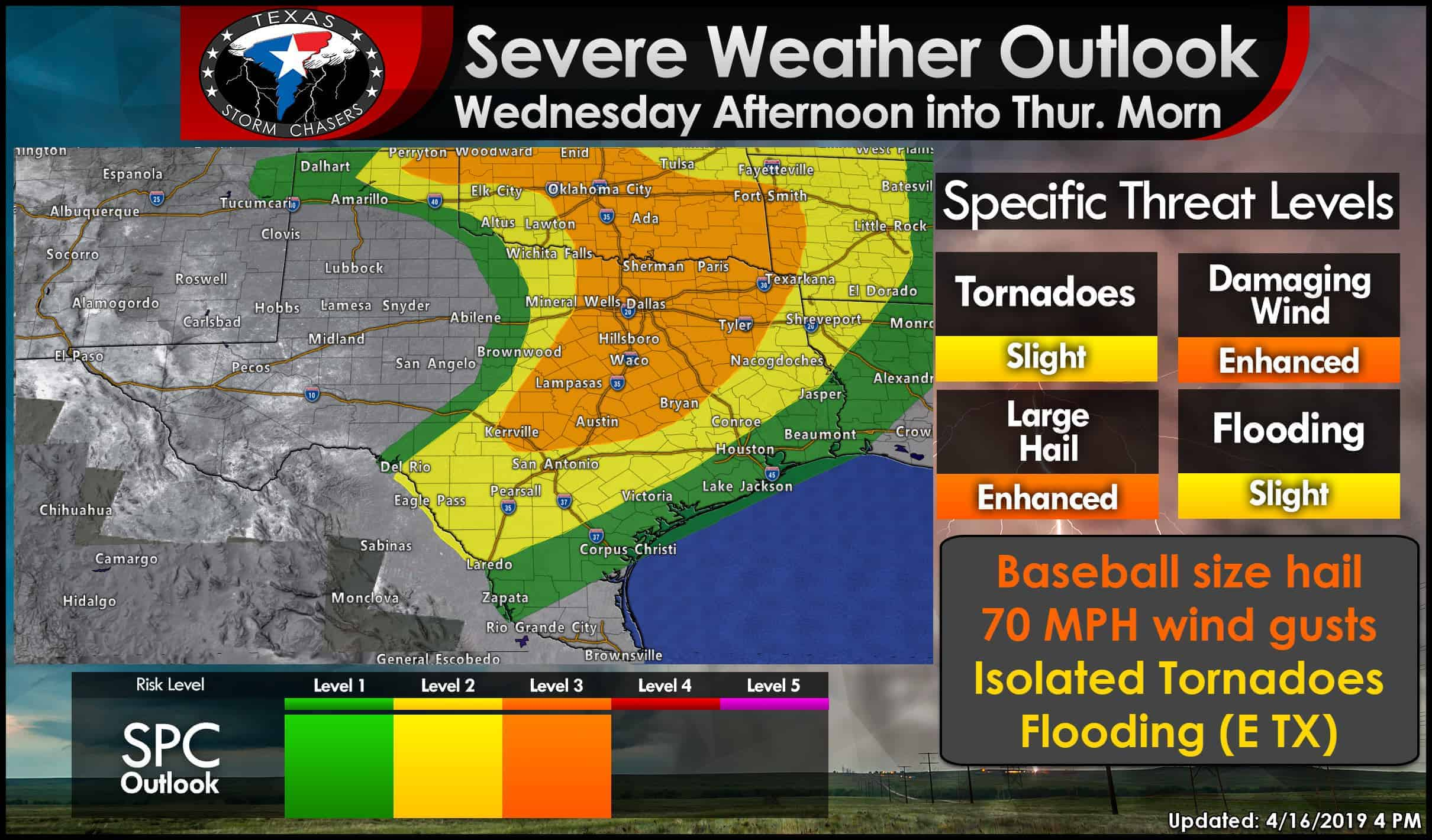 After 4PM Wednesday: Storms with giant hail threat